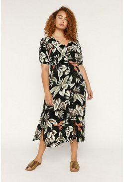 Black Curve Tropical Midi Dress