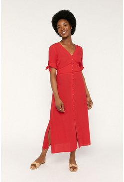 Red Tie Sleeve Button Through Midi Dress