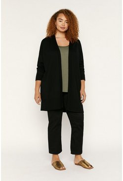 Black Curve Edge To Edge Cardigan