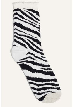 White Zebra Stripe Sock