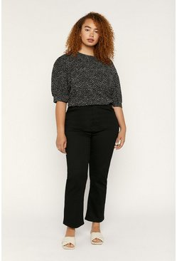 Blackwhite Curve Textured Crepe Top