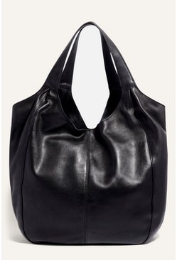 Black Leather Scoop Shopper