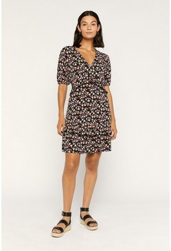 Black Rose Print Ruffle Tea Dress