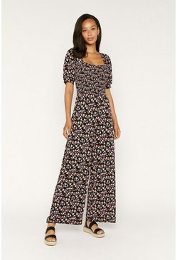 Black Rose Print Puff Sleeve Jumpsuit